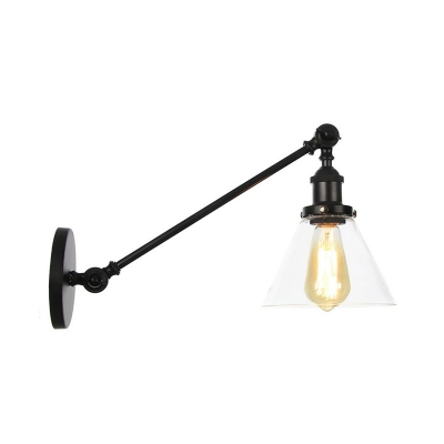 """1 Light Wall Lamp Industrial Cone Clear Glass Lighting Fixture in Black/Bronze/Copper with Arm, 8""""/12"""" L, Black;bronze;brass;chrome;copper, HL576055"""