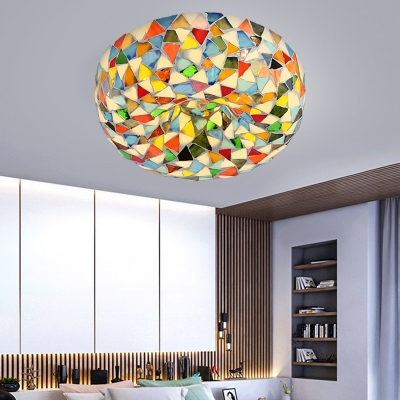 2/3 Lights Bowl Flush Light Fixture Tiffany Style White/Yellow/Blue Stained Glass Flush Mount Lighting for Bedroom, 10