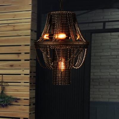 4-Light Chandelier Pendant Industrial Bike Chain Iron Ceiling Light Fixture in Black