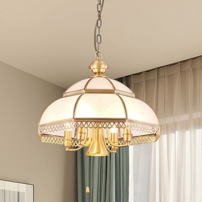 5 Bulbs Chandelier Light Fixture Colonialist Bedroom Hanging Lamp with Dome White Glass Shade
