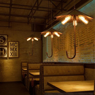 5 Lights Hanging Chandelier Vintage Exposed Bulb Metal Pendant Light Kit in Rust for Dining Room