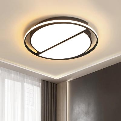 Acrylic Circle Flushmount Lighting Modern Led Surface Mount Ceiling Light in Black for Living Room, White/3 Color Light