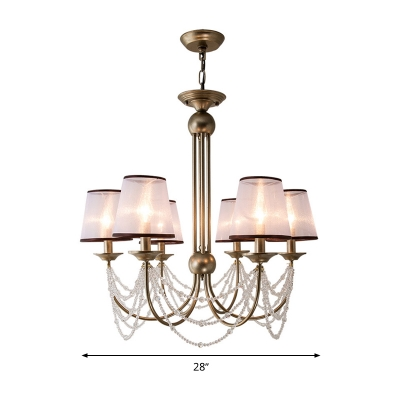 Beaded Ceiling Chandelier Contemporary Crystal 3/6 Bulbs Brass Pendant Light Fixture with Cone Fabric Shade, 21