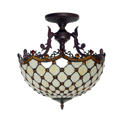 Bowl Semi Mount Lighting 3 Lights Beige/Light Blue Cut Glass Tiffany Stylish Ceiling Light Fixture