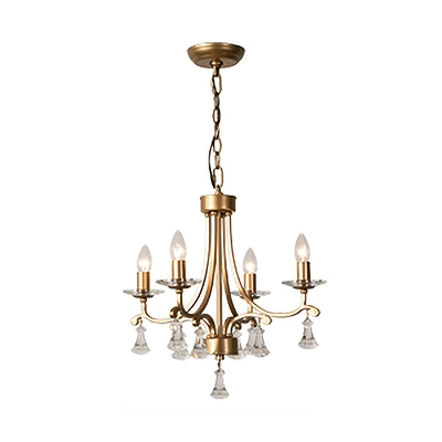 Brass Candle Pendant Chandlier Modernist 6 Heads Metal Hanging Light Fixture with Clear Crystal Drop