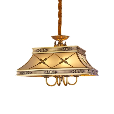 Brass Flared Hanging Chandelier Colonial Sandblasted Glass 4 Lights Dining Room Ceiling Pendant