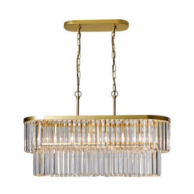 Clear Crystal Rod Oval Hanging Ceiling Light 4 Heads Dining Room Pendant Chandelier