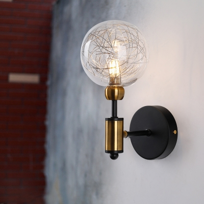 Clear Glass Ball Wall Lighting Fixture Industrial Style 1/2-Light Black/Brass Finish Sconce Lamp for Restaurant, HL572460