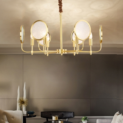 Colonial Round Hanging Pendant 6/8 Heads Bubble Glass Chandelier Lighting Fixture in Gold