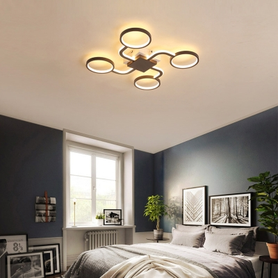 Dark Coffee Ring Flush Light Contemporary Acrylic LED Ceiling Lamp in Warm/White Light, 19.5