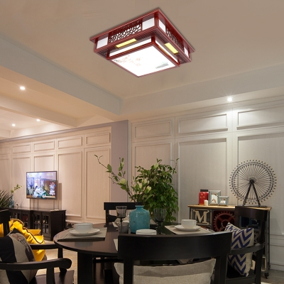 Dark Red LED Flush Mount Fixture Traditional Wooden Square Ceiling Mounted Light for Bedroom