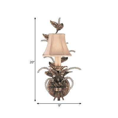Fabric Flared Wall Light Fixture Traditional 1 Light Living Room Sconce in White/Bronze with Clear Crystal Drops