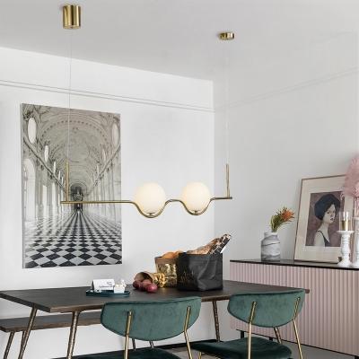 Gold Linear Island Lamp Modernist 2 Bulbs Metal Ceiling Pendant Light with Ball Opal Glass Shade