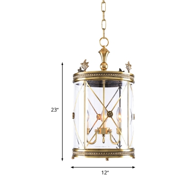 Lantern Foyer Ceiling Chandelier Colonial Clear Glass 3 Heads Gold Hanging Light Fixture