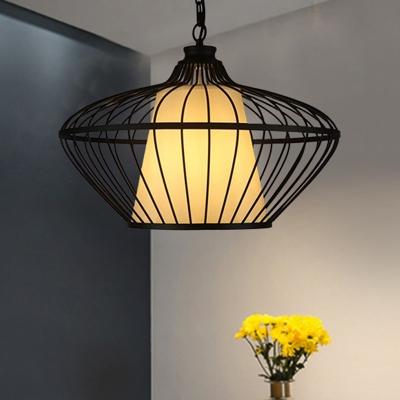 Metallic Black Ceiling Suspension Lamp Basket 1 Light Classic Pendant Lighting Fixture