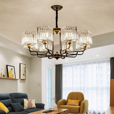 Square Ceiling Chandelier Contemporary Crystal 4/6/8 Heads 26