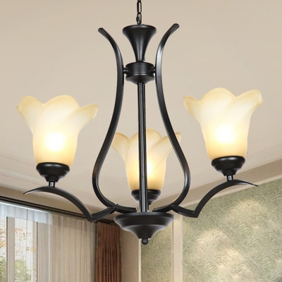 Traditional Floral Chandelier Lighting Fixture 3/6/8 Heads White Glass Pendant Ceiling Light in Black