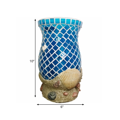Vase Blue Glass Nightstand Light Moroccan Single Bulb Bedroom Night Table Lamp with Shell Accent