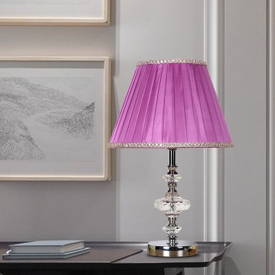 Vintage Pleated Shade Nightstand Lamp 1 Bulb Clear Crystal Glass Table Light in Purple with Faux-Braided Detailing