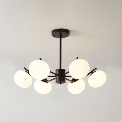 White Glass Spherical Hanging Chandelier Modernist 3/6 Heads Black/Coffee Ceiling Suspension Lamp