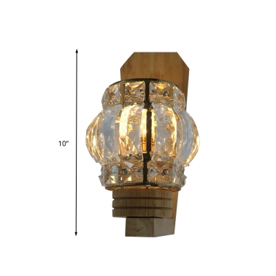1 Bulb Wall Light Sconce Traditional Living Room Wall Lighting Fixture with Square/Globe Clear Crystal Shade