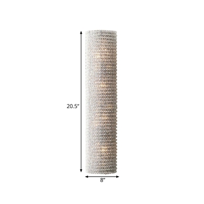 4 Lights Sconce Light Fixture Countryside Cylinder Crystal Wall Lamp in White for Living Room