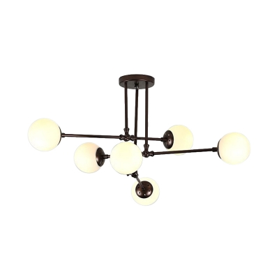 6 Heads Sphere Ceiling Chandelier Modernist Frosted White Glass Hanging Pendant Light in Coffee