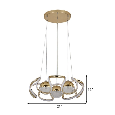 Abstract Chandelier with Orb Shade Metal Champagne Gold Hanging Light for Indoor