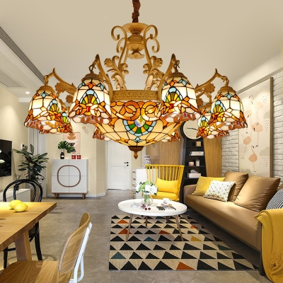 Arched Stained Glass Hanging Chandelier Baroque 9/11 Lights White and Gold Ceiling Pendant Light