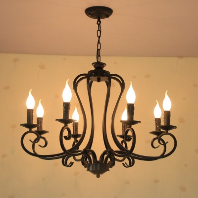 Black Candle Hanging Chandelier Traditionary Metal 6/8 Bulbs Living Room Pendant Light Fixture
