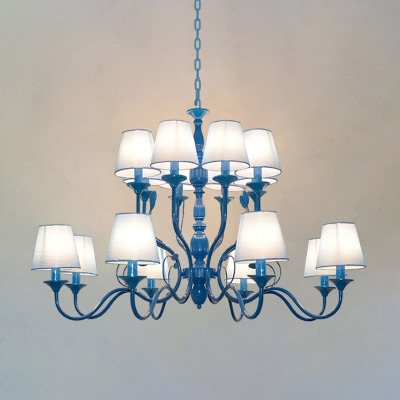 Blue 10/12/16 Heads Pendant Chandelier Antique Metal Branch Ceiling Hanging Light with White Cone Fabric Shade