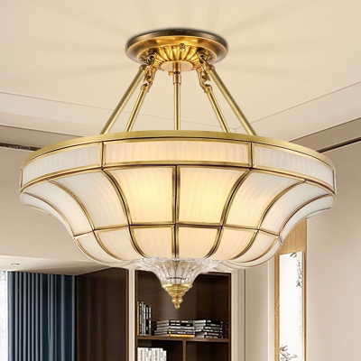 Brass 3/6 Lights Ceiling Mount Light Traditional Frosted Glass Curved Semi Flush Light for Corridor, 16