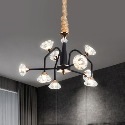 Curve Arm Pyramid Crystal Ceiling Light Traditional 9/12 Heads Bedroom Semi Flush Mount Fixture in Black, HL580553