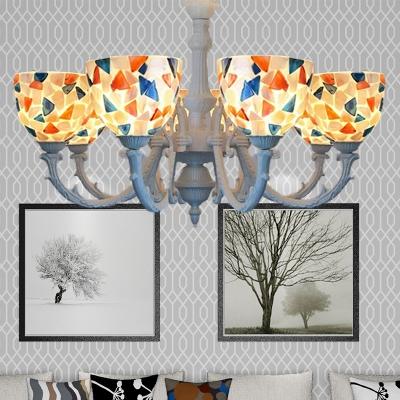 Cut Glass Domed Shade Chandelier Light Fixture Baroque 3/5/8 Lights White Down Lighting Pendant, HL582092