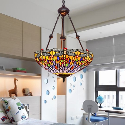 Cut Glass Dragonfly Chandelier Light Tiffany-Style 2 Lights Orange/Green/Red Suspension Lighting for Living Room
