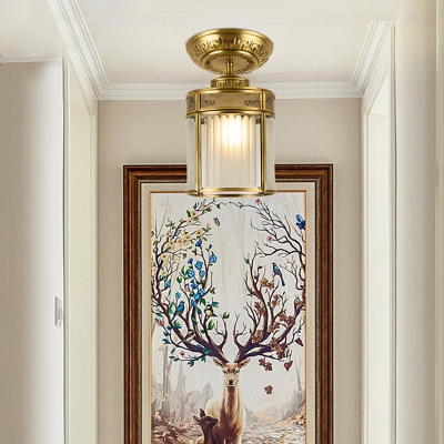 Cylindrical Milky Glass Ceiling Lighting Traditional 1 Bulb Porch Semi Flush Mount Ceiling Light in Brass