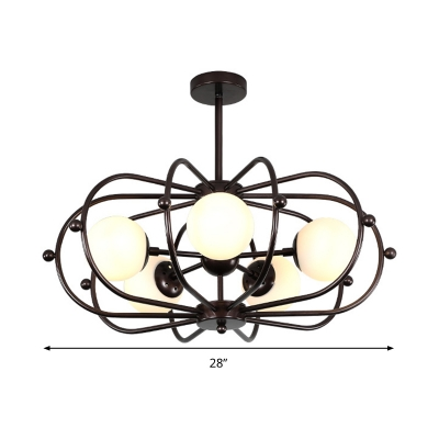 Drum Pendant Chandelier Modernist Metal 5 Heads Coffee Ceiling Hanging Light for Bedroom
