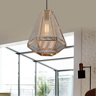 Gold 1 Head Down Lighting Countryside Metal Diamond Pendant Ceiling Light for Living Room, 9