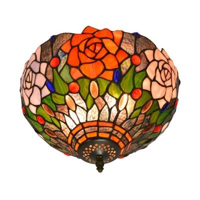 Hand Cut Glass Brass Ceiling Mount Flower 2 Lights Victorian Flush Mount Ceiling Light