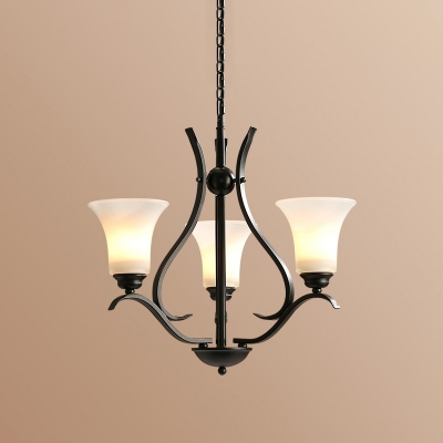Ivory Glass Flared Chandelier Lamp Traditional 3/6/8 Heads Dining Room Pendant Light Fixture in Black