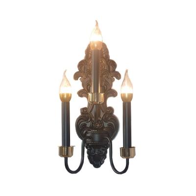 Metal Black Wall Mount Lighting Candle 3 Bulbs Rural Flush Wall Sconce for Living Room