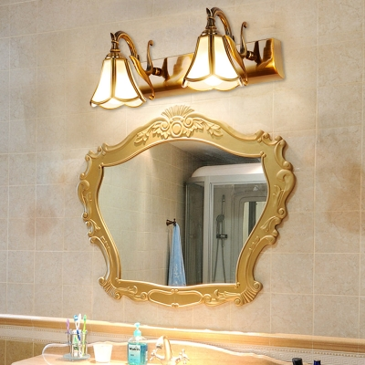 Metal Brass Vanity Lighting Blossom 1/2/3 Heads Retro Wall Sconce Light for Bathroom