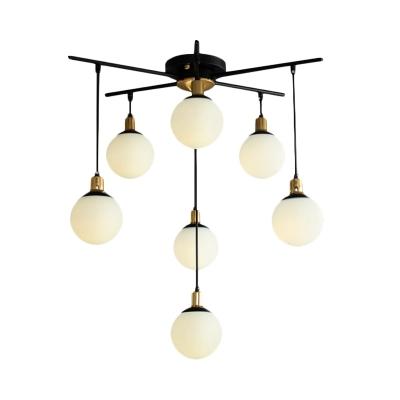 Nordic Ball Chandelier Light with Sputnik Design Opal Satin Glass Multi Light Pendant in Brass