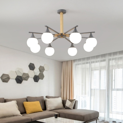 Orb Frosted Glass Chandelier Light Fixture Nordic Stylish 5/8 Lights Gray Suspension Light for Living Room