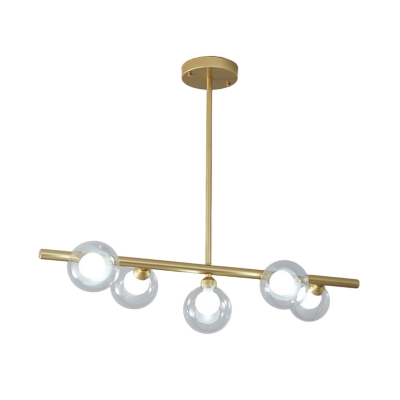 Orb Shade Clear Glass Island Light Fixture Modern Style 5/6 Lights Hanging Ceiling Light in Black/Gold for Dining Room
