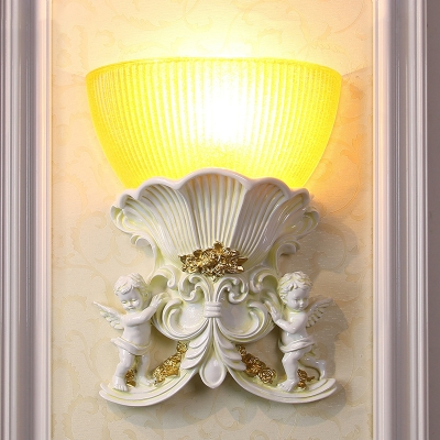 Ribbed Glass Yellow Wall Lighting Bowl Shade 1 Bulb Vintage Style Sconce Light Fixture with Beige/Gold/White Angel Design