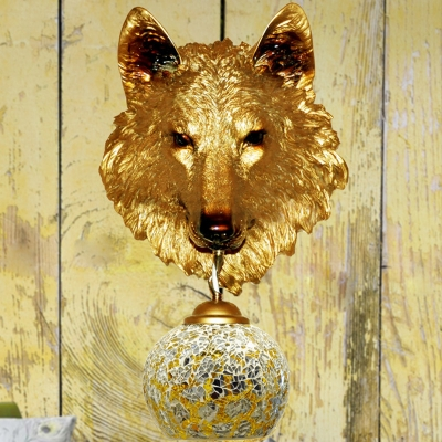 Silver/Gold Wolf Head Sconce Tiffany Stylish 1 Light Stained Art Glass Wall Mount Lighting for Coffee Shop, Gold;silver, HL581560