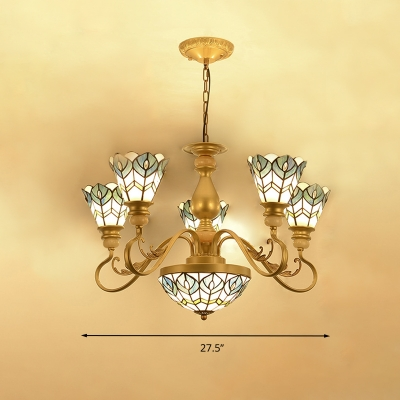 Tiffany-Style Blossom Chandelier Lighting 3/5/8 Heads Multicolored Stained Glass Pendant Lamp in Gold