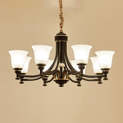 Bell Opaline Glass Chandelier Light Traditional 3/5/6 Bulbs Living Room Pendant Lamp in Black and Gold