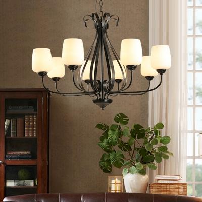 Black 3/6/8 Heads Chandelier Light Traditionalism White Glass Bowl Suspended Lighting Fixture for Living Room